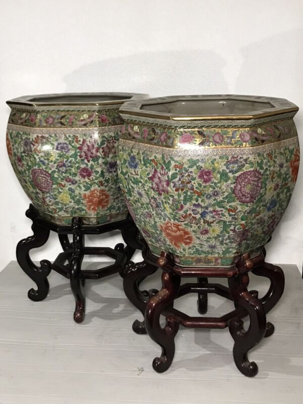 Pair Chinese Famille Rose Medallion Hand Painted Porcelain Octagonal Fish Bowl