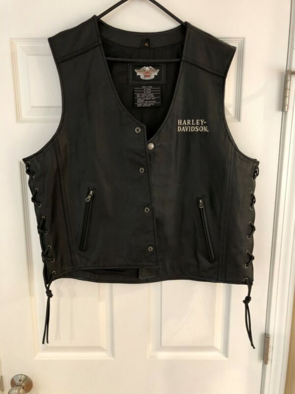 Harley Davidson Black Leather vest mens XL