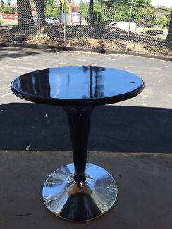 BLACK &  CHROME POLYURETHANE BAR TABLE - rises with gaslift