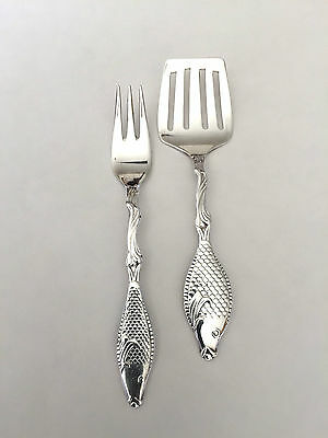 EXTRA PRIMA NS. ALP Sweden~ Pair~ Two Swedish Silver Plated  Herring fish Forks