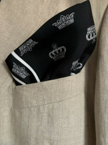 NWT Dolce & Gabbana Black Crown Print Square Pocket, Italy