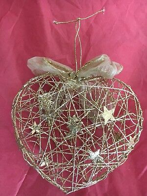 (Thin gold wire mesh heart decoration with ribbon & stars VERY PRETTY! Fast ship)