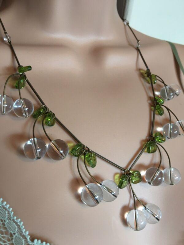 art deco 1940s Vintage style Quartz Crystal Glass Pools Of Light Cherry Necklace