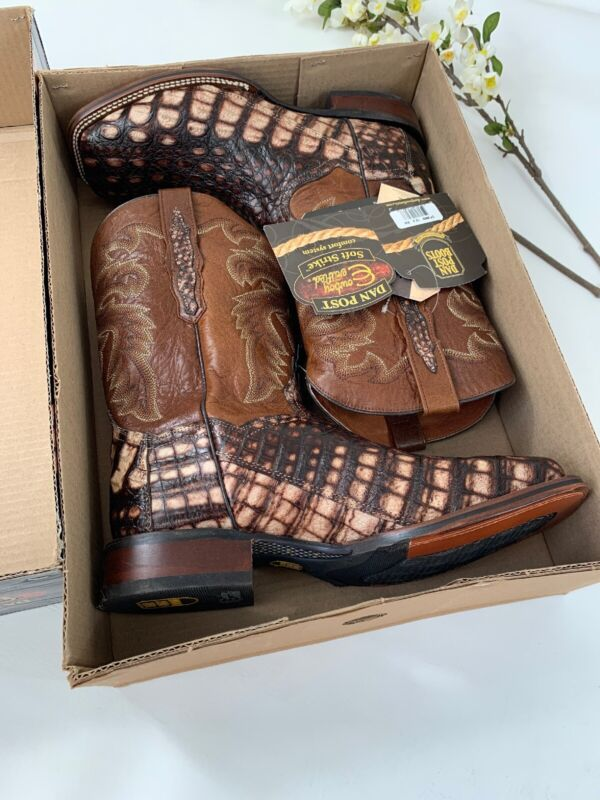 DAN, POST, Brown, Cowboy, Boots, , EVERGLADE, DP3862, Genuine, CAIMAN, Mens, Sz, 12, EW, $490