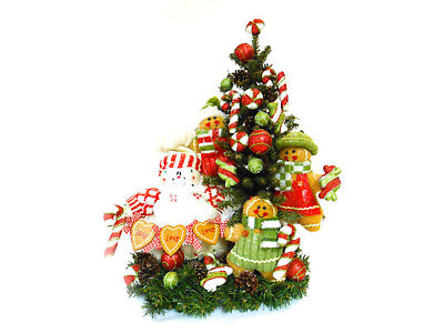 "Gingerbread Household Holiday Tree Arrangement Christmas Table Decor 24"""" FREESHIP"