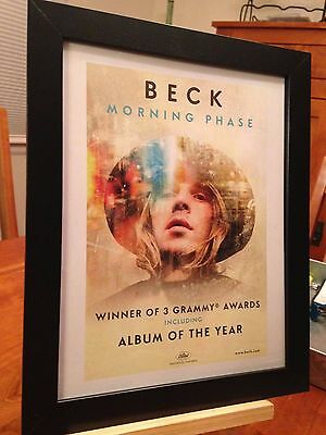 "FRAMED ORIGINAL & RARE BECK ""MORNING PHASE"" LP ALBUM CD PROMO AD"