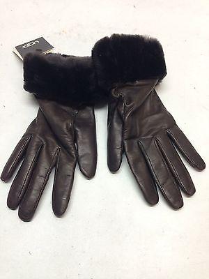 NEW Ugg Australia Fashion Shorty Brown Leather Tech Glove Women's Size M
