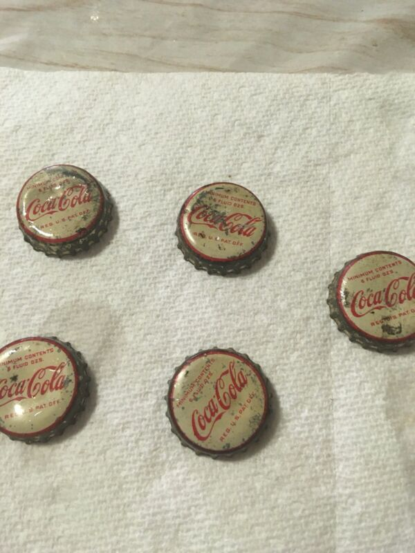 Five Antique/Vintage Coca Cola Bottle Caps - Cork lining