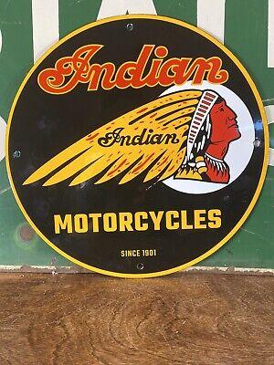 "VINTAGE STYLE ""INDIAN MOTORCYCLES"" DEALER SIGN HEAVY PORCELAIN SIGN 12 INCH"