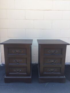 Two bedside tables - solid dark wood