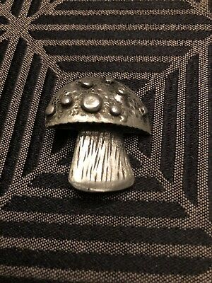 VIntage 70's Style Pewter Mushroom Pin by METZKE 1 3/8