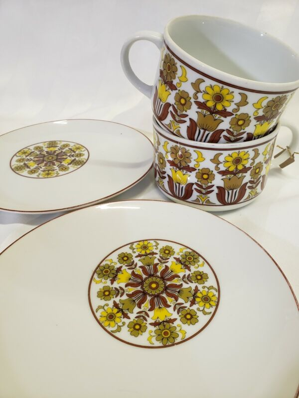 Mod Floral Retro Coffee Tea Cup Saucers (2) Vintage Mustard Yellow & Brown 1970s