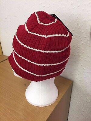 Trespass Mens Beanie Winter Knitted Hat / Red / White Stripe White Stripe Beanie