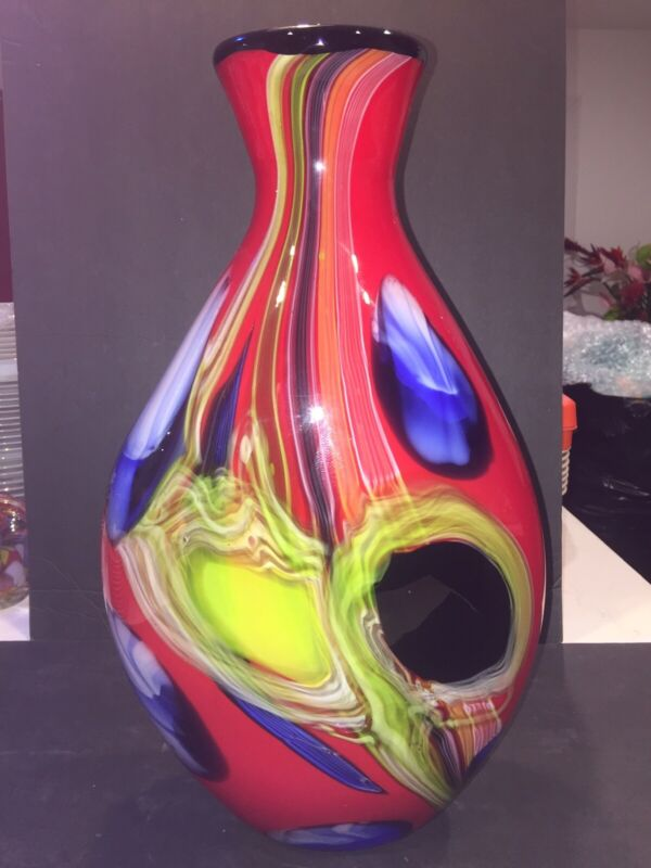 "Hand Blown Art Glass Multi Color Swirl Vase 18"" Tall Mint"
