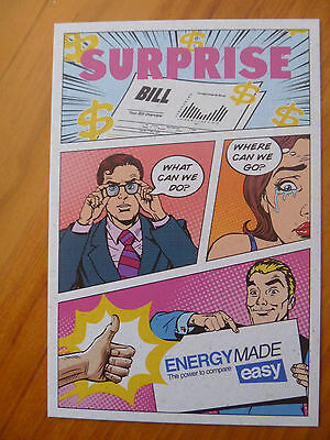 POSTCARD...ENERGY MADE EASY...BILL SHOCK..CARTOON STYLE..HIGH ELECTRICITY PRICES
