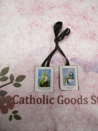 Brown Scapular  with Brown Straps - Our Lady + St. Simon Stock
