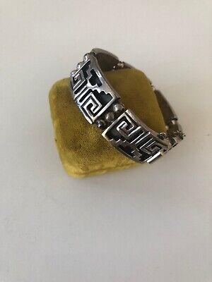 Vintage Mexico Sterling Silver Black Aztec Design 6 3/4