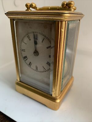 Small Gilt Brass Old French Carriage Clock In Working Order Stamped CV.