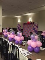 Paper flowers and balloons