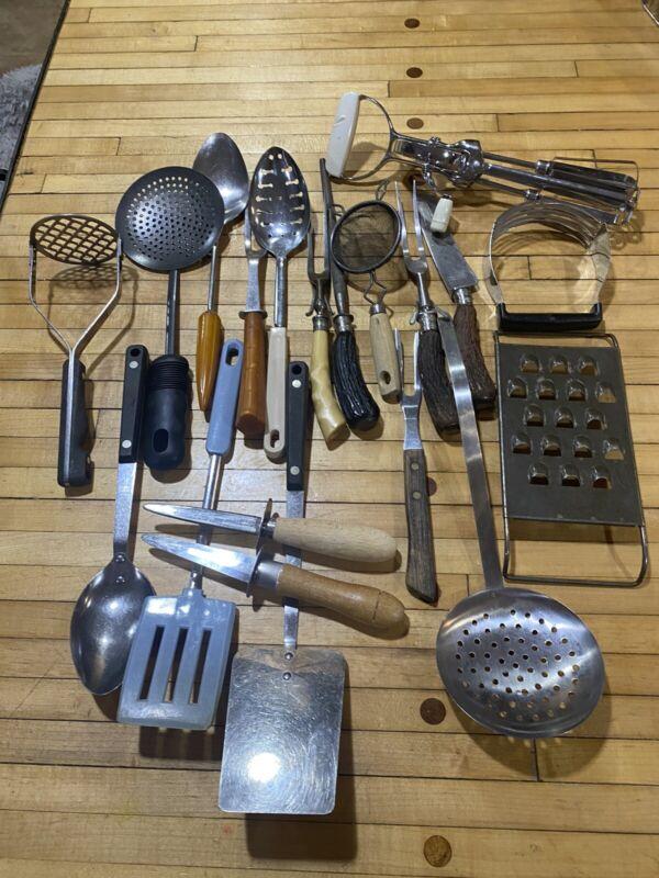 LOT VINTAGE Wooden, Bone, KITCHEN UTENSILS - Knife, Oyster, Sharpener
