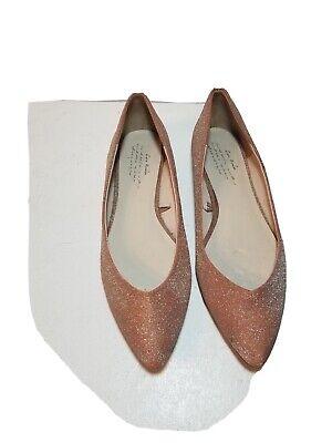 Zara women's Shoes Flats pink/salmon glitter gold Size Eruo 39 USA Size 9