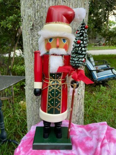 Rare Lg Seiffener Christian Ulbright German Santa Nutcracker Christmas tree Pole