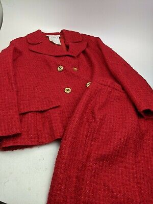 Vintage Valentino Boutique Red Wool Mohair Skirt Suit Sz 10