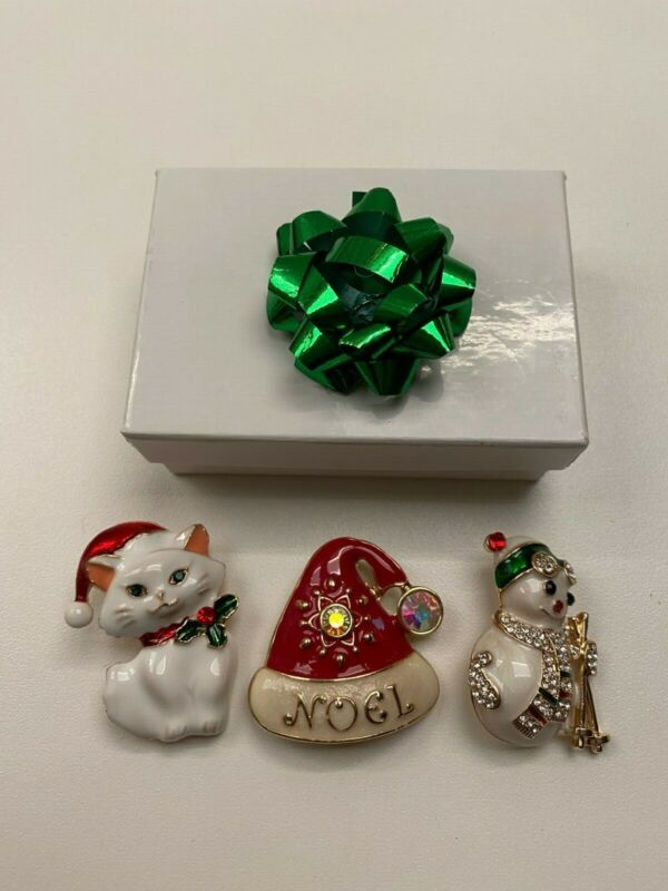 Lot Of 3 Christmas Sparkly Metal Brooches Pins: Kitty, Snowman, Hat
