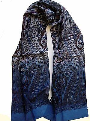 Seidenschal Seidentuch Herrenschal Herrentuch Krawattenschal blau paisley Seide  - Krawatte Herren Seide Schal