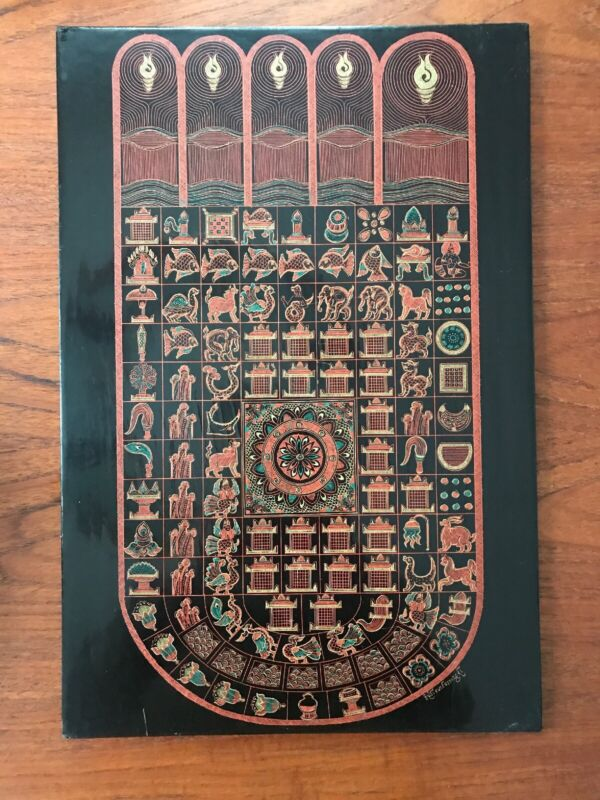 Incredible Antique Burmese Engraved Lacquer Panel 18 X 12 Buddha Foot Astrology