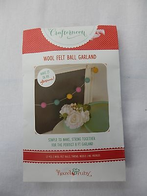 New Hazel Ruby Wool Felt Ball Christmas Garland by Crafternoon craft set art DIY ()