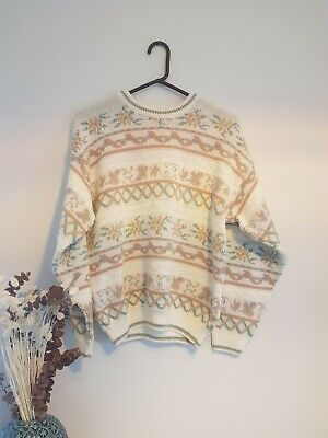 Vintage Floral Cream Granny Womens Jumper One Size