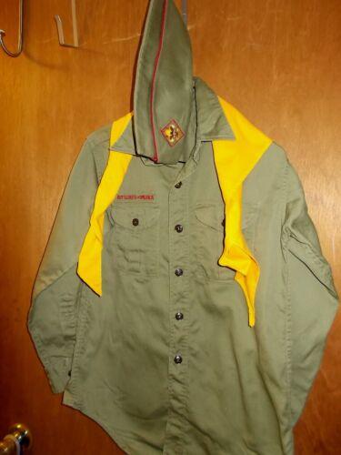 Vintage Boy Scout BSA Uniform Olive Green     Shirt Long Sleeve, Hat, Scarf,