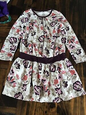 Tea Collection Dress Ivory Purple Flowers 5