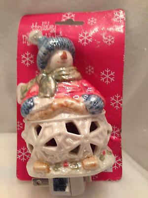 Night Light Room Lamp Holiday Winter Snowman Decor Glazed Pearl Ceramic Vintage