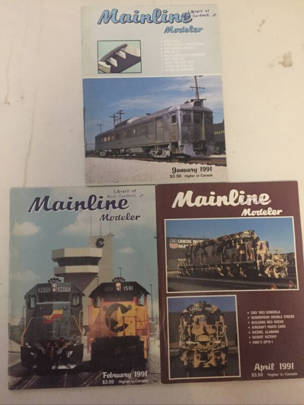 Mainline Modeler Magazine Lot Of 3) issues Jan Feb April 1991