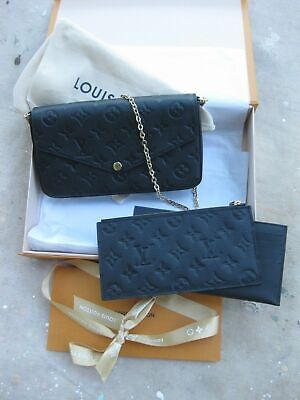 ^&^Louis Vuitton Pochette Felicie Noir Monogram Empreinte Leather
