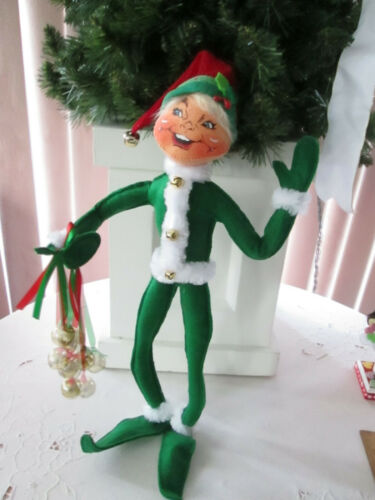 "Annalee Doll 14"" Green Jingle bell Christmas Elf, 2018, Prestine. NMWT"