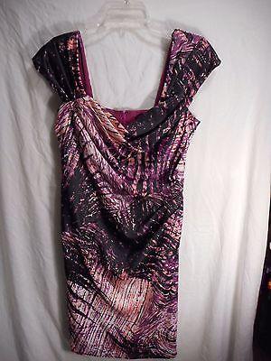 - Tadashi Shoji Short Dress Squared Neckline Draped Cap Sleeves Womens 12 Purple+