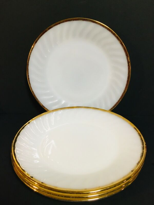 "vintage ANCHOR HOCKING  9"" milk glass with distress gold trim dinner plates"
