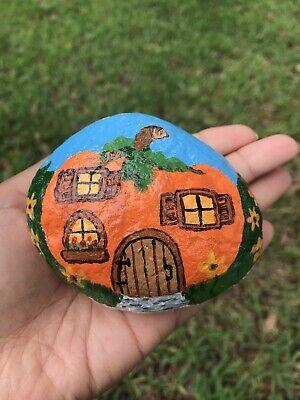 Hand Painted Rock Fairy Garden Pumpkin Hobbit House Fall Halloween