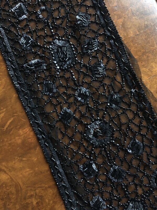 Antique Black Lace Victorian 1900s Salvage Mourning Beading Sequin