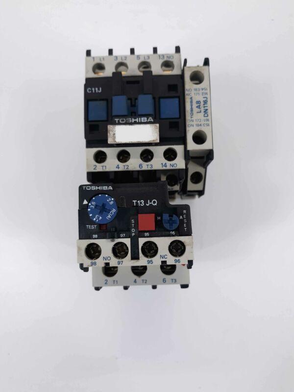 Toshiba C11J Contactor 110v Coil w/ T13 J-Q Overload Relay 2.8-4.3A w/LA8 & LA4