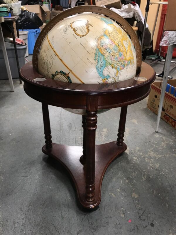 "Vintage Replogle 16"" Globe World Classic Series on Wooden Stand"
