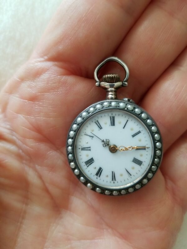 Ladies Antique Watch Sterling Guilloche Enamel Seed Pearls 1850-1900 Excellent.