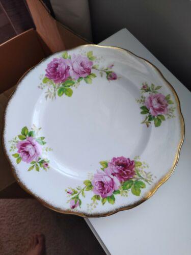 Royal Albert American Beauty Dinner Plates Pink Roses Gold Gilding