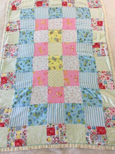 Vintage handmade unisex baby quilt sweet flannel fabrics for Unisex baby fabric