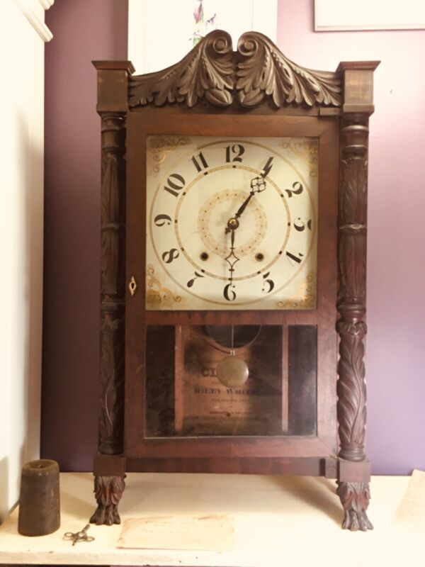 Antique Early 19th Century Riley Whiting Shelf Clock With Paper Label