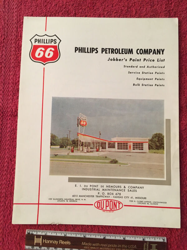 1961 PHILLIPS 66 PETROLEUM OIL DUPONT PAINT JOBBER PRICE LIST GAS STATION PUMP