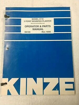 Kinze 3 Point Mounted Planter Model 3110 Operators Manual M0189 1j-2580-x15